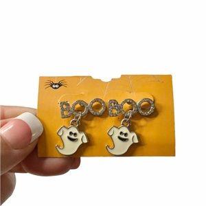 NEW Ghost BOO Silver Rhinestone Sparkle Halloween Post Earrings